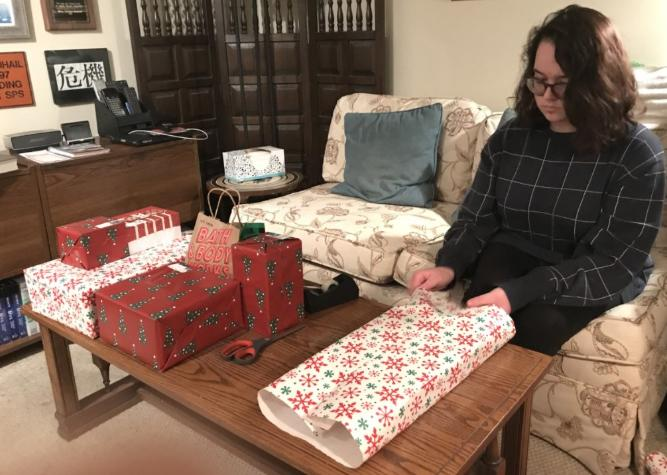 Wrapping Mom's Christmas gifts