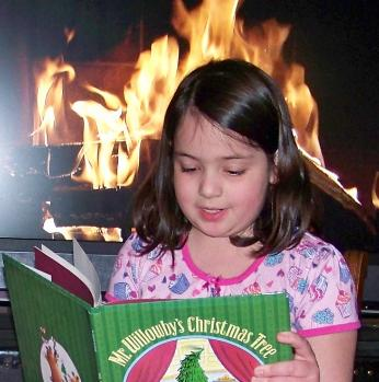 Reading Christmas books on Christmas Eve.