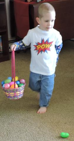 A special Easter egg hunt for Brayden.
