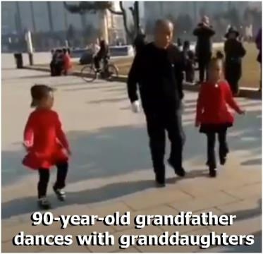 90-year-old grandfather dances with granddaughters
