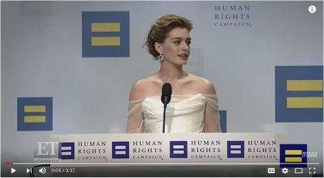 Anne Hathaway with National Equality Award