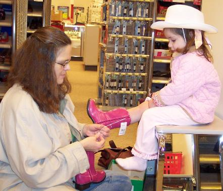 Shopping for cowgirl boots.