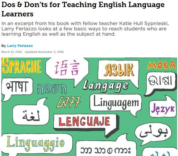 Dos & Don'ts for Teaching English Language Learners