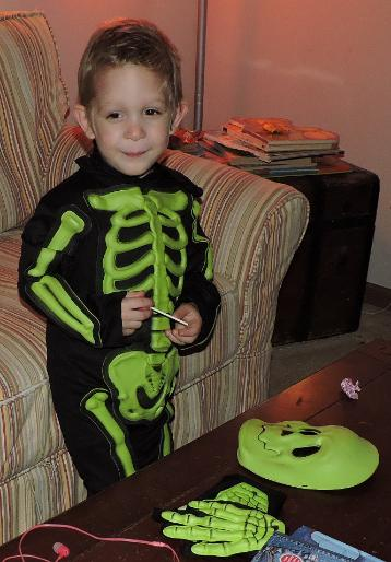 A skeleton dropped by demanding candy.