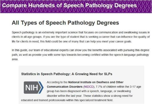 Speech Pathology Degrees